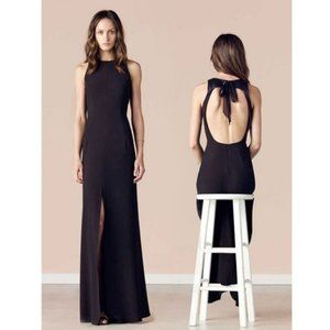 L'Agence Black Leather-trim Open-back Maxi Dress 8